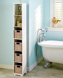 Tall Slim Wooden Multi Use Space Saving Cabinet Organizer or