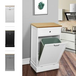 Trash Cabinet Free Standing Tilt Out Recycling Can Holder Ba