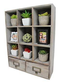 Vintage Rustic Torched Wood Cubby Storage Wall Mountable Sha