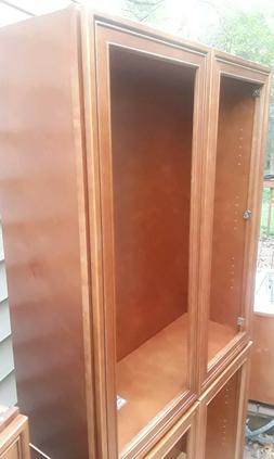Wall Cabinets finished Maple Solid Wood Glass Ready Kitchen