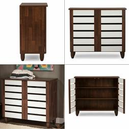 Wood Shoe Cabinet Storage Rack Organizer Entryway Shelves Cl