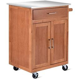 Giantex Wood Kitchen Trolley Cart Stainless Steel Top Rollin
