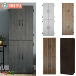 Wood Storage Cabinets 4 Doors Tall Pantry Cupboard vertical