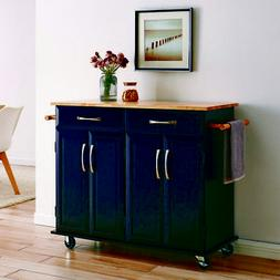 Wood Top Multi-Storage Cabinet Rolling Kitchen Island Table
